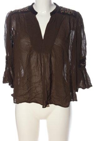 Zara Basic Schlupf-Bluse braun Elegant