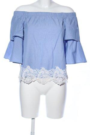 Zara Basic Schlupf-Bluse blau-weiß Casual-Look