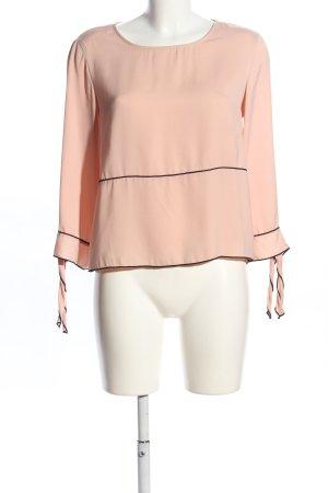 Zara Basic Schlupf-Bluse nude-schwarz Casual-Look
