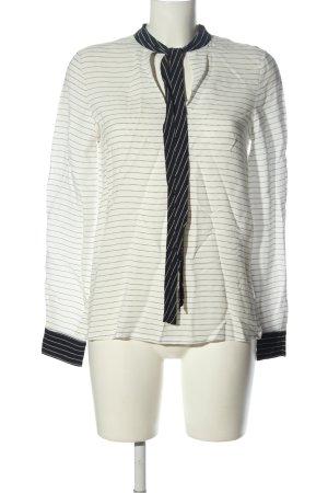 Zara Basic Schlupf-Bluse weiß-schwarz Allover-Druck Business-Look