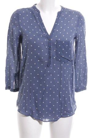 Zara Basic Schlupf-Bluse blau-weiß Punktemuster Casual-Look