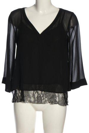 Zara Basic Schlupf-Bluse schwarz Elegant