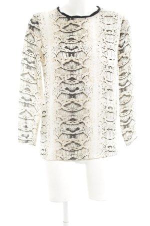 Zara Basic Schlupf-Bluse creme-hellgrau Allover-Druck Elegant
