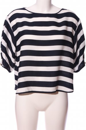 Zara Basic Schlupf-Bluse schwarz-weiß Streifenmuster Casual-Look