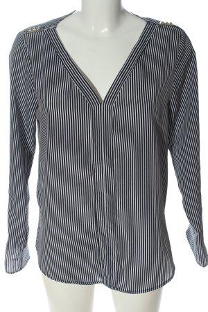 Zara Basic Schlupf-Bluse blau-weiß Allover-Druck Business-Look