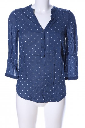 Zara Basic Schlupf-Bluse blau-weiß Allover-Druck Casual-Look