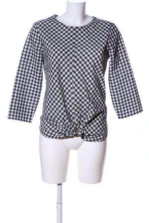 Zara Basic Schlupf-Bluse weiß-schwarz Allover-Druck Casual-Look