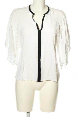 Zara Basic Schlupf-Bluse weiß-schwarz Business-Look