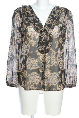Zara Basic Schlupf-Bluse schwarz-blassgelb Allover-Druck Business-Look