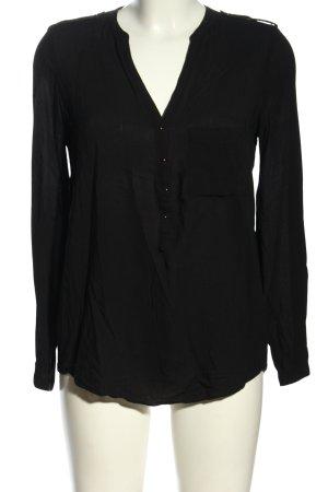 Zara Basic Schlupf-Bluse schwarz Business-Look