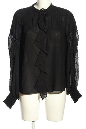 Zara Basic Schlupf-Bluse schwarz Casual-Look