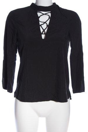 Zara Basic Schluppen-Bluse schwarz Elegant