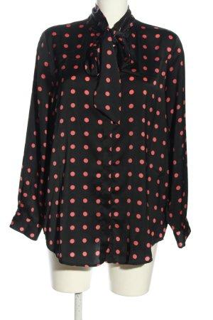 Zara Basic Schluppen-Bluse schwarz-pink Punktemuster Casual-Look