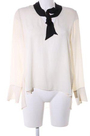Zara Basic Schluppen-Bluse creme-schwarz Business-Look