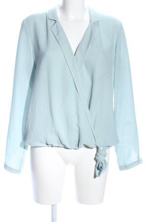Zara Basic Schluppen-Bluse türkis Business-Look