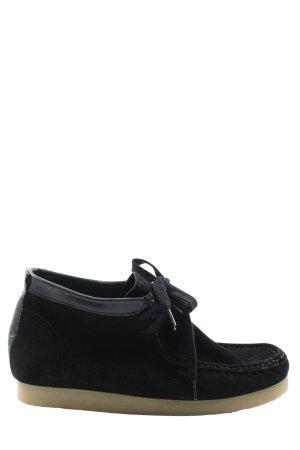 Zara Basic Schnür-Stiefeletten schwarz Casual-Look