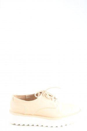 Zara Basic Schnürschuhe creme Casual-Look