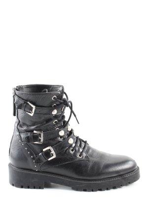 Zara Basic Botas con cordones negro look casual