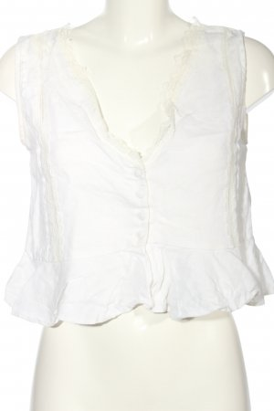 Zara Basic Top z baskinką biały W stylu casual