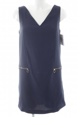 Zara Basic schulterfreies Kleid dunkelblau-goldfarben Business-Look
