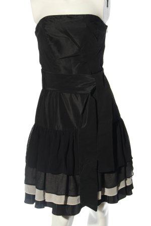 Zara Basic schulterfreies Kleid schwarz Streifenmuster Party-Look