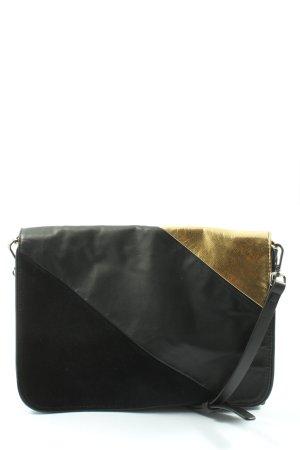 Zara Basic Schultertasche schwarz-blassgelb Casual-Look