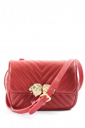 Zara Basic Schultertasche rot-goldfarben Steppmuster Casual-Look
