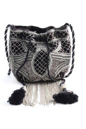 Zara Basic Schultertasche schwarz-silberfarben Schriftzug gestickt Casual-Look