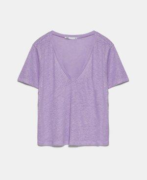 Zara Basic Shirt T-Shirt V Ausschnitt Leinen Flieder Lila S 36 Neu