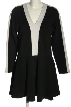 Zara Basic Shirtkleid schwarz-wollweiß Casual-Look