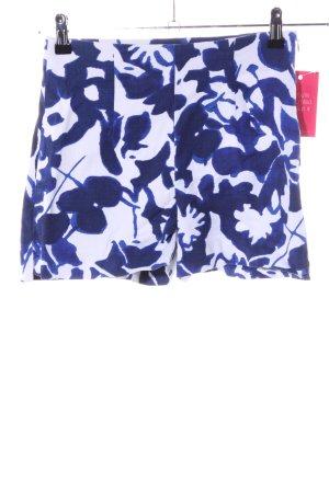 Zara Basic Shorts weiß-blau abstraktes Muster Casual-Look