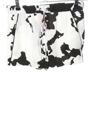 Zara Basic Shorts weiß-schwarz abstraktes Muster Casual-Look