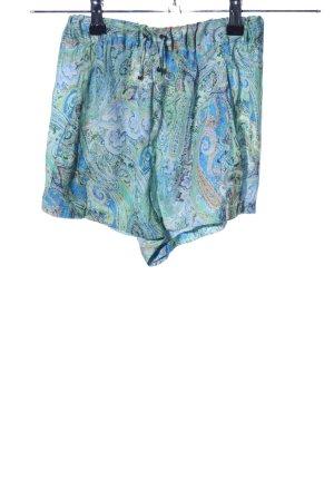 Zara Basic Shorts blau-grün abstraktes Muster Casual-Look