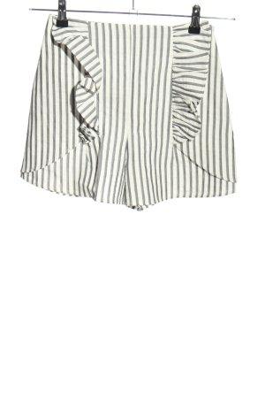 Zara Basic Shorts weiß-hellgrau Allover-Druck Casual-Look