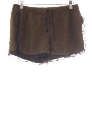 Zara Basic Shorts olivgrün-schwarz Lingerie-Look