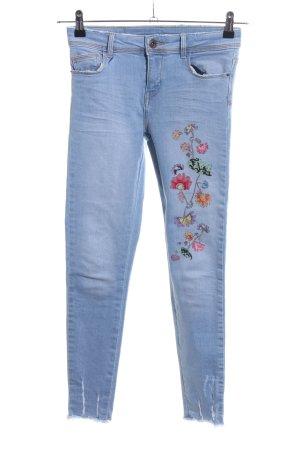 Zara Basic Skinny Jeans blau Blumenmuster Casual-Look