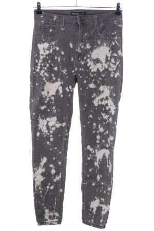 Zara Basic Skinny Jeans hellgrau-wollweiß abstraktes Muster Casual-Look