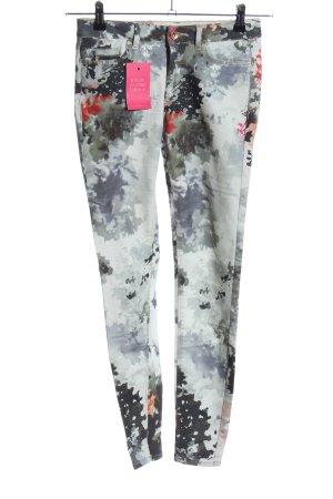 Zara Basic Skinny Jeans hellgrau-schwarz abstraktes Muster Casual-Look
