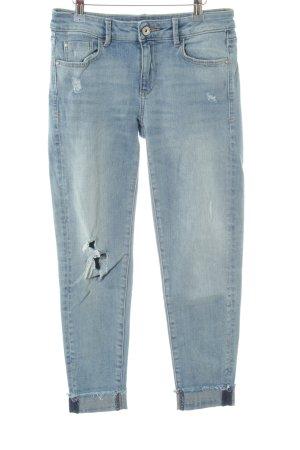 Zara Basic Skinny Jeans blassblau Logo-Applikation