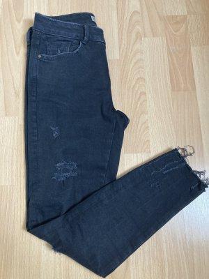 Zara Basic Skinny Ripped Jeans schwarz 36