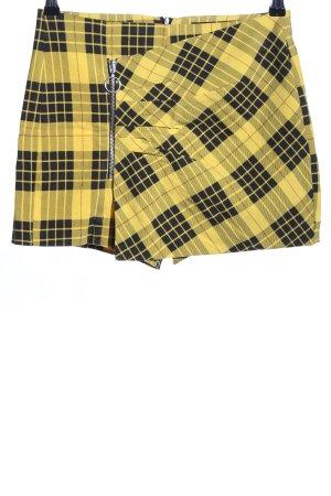 Zara Basic Skorts blassgelb-schwarz Karomuster Casual-Look