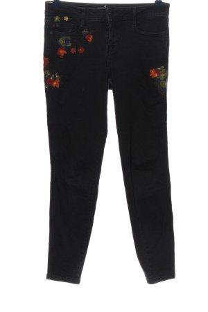 Zara Basic Slim Jeans schwarz Blumenmuster Casual-Look