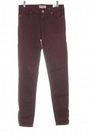 Zara Basic Slim Jeans bordeauxrot Casual-Look