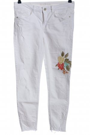 Zara Basic Slim Jeans weiß Blumenmuster Casual-Look