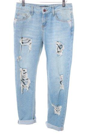 Zara Basic Slim Jeans himmelblau Logo-Applikation aus Leder
