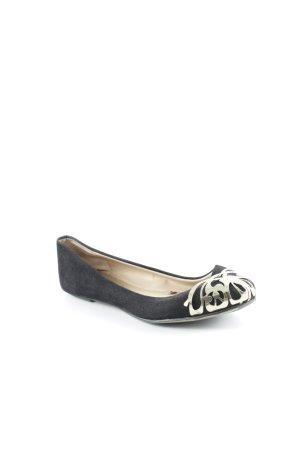 Zara Basic Bailarinas sin talón negro-color oro estampado con diseño abstracto