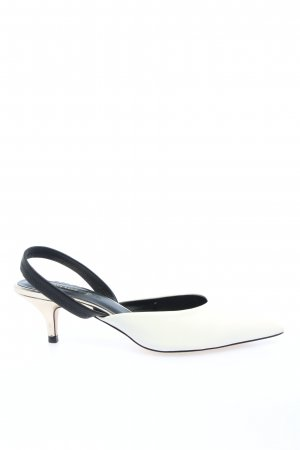 Zara Basic Slingback-Pumps weiß-schwarz Casual-Look