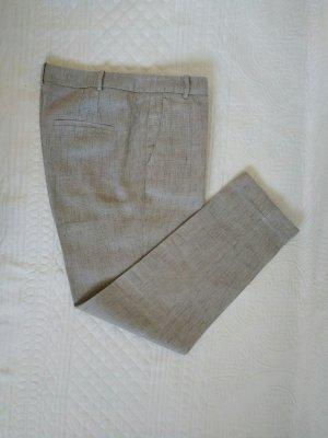 Zara Basic Lniane spodnie srebrny-biały Len