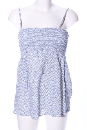Zara Basic Top de tirantes finos blanco-azul elegante