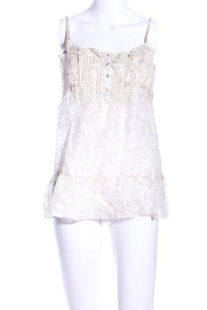 Zara Basic Top con bretelline bianco-bianco sporco stampa integrale stile casual